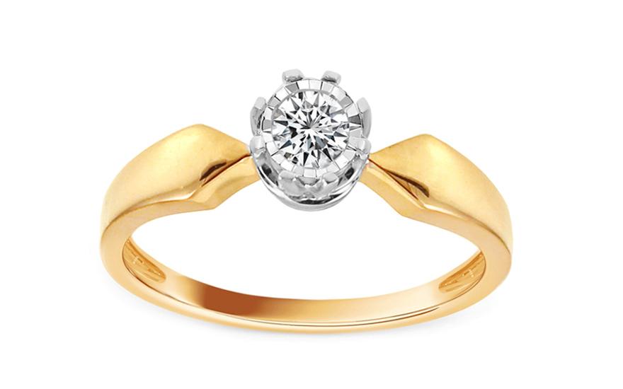 Zlatý zásnubní prsten s diamantem Glenna KU542