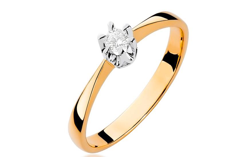 Zlatý zásnubní prsten s diamantem Haidee BSBR016