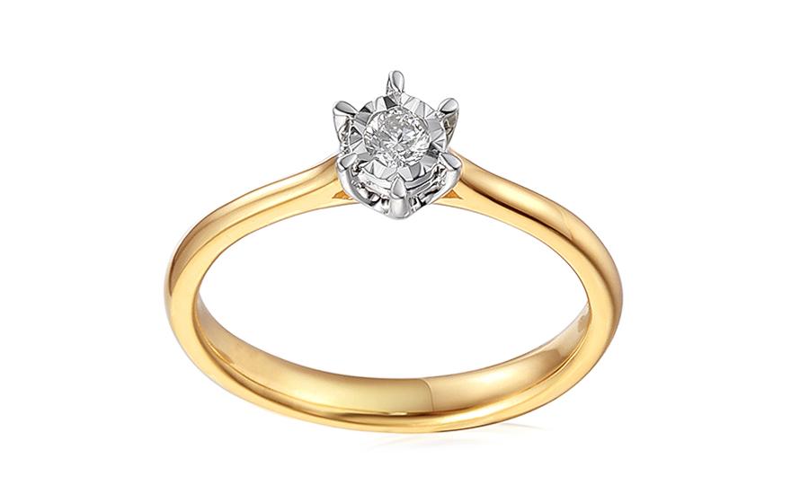 Zlatý zásnubní prsten s diamantem Jalene IZBR032