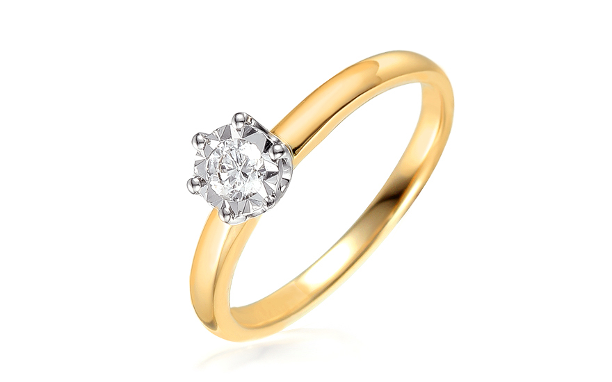 Zlatý zásnubní prsten s diamantem Jarona IZBR312