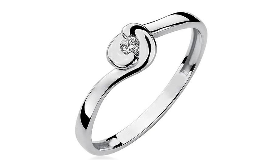 Zlatý zásnubní prsten s diamantem Kasia BSBR030A