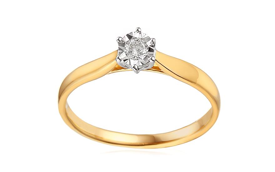 Zlatý zásnubní prsten s diamantem Lawanda IZBR303