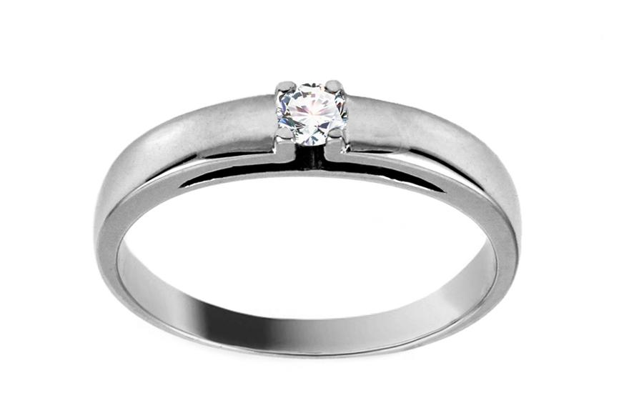 Zlatý zásnubní prsten s diamantem Léonie CSBRI002A