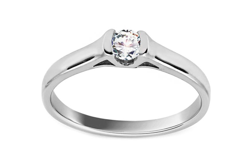 Zlatý zásnubní prsten s diamantem Luz white BSBR052