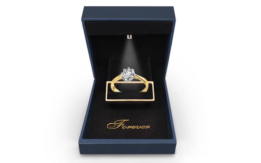 Zlatý zásnubní prsten s diamantem Malene IZBR047