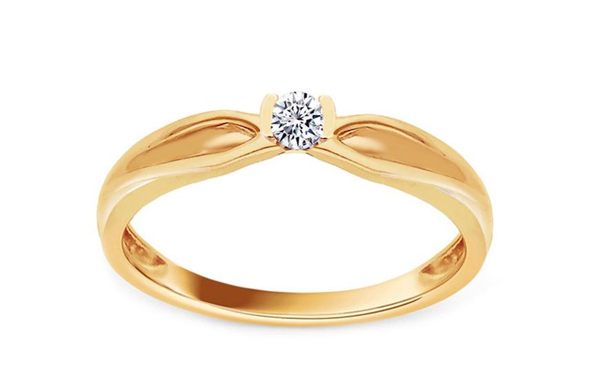 Zlatý zásnubní prsten s diamantem Marinna KU521