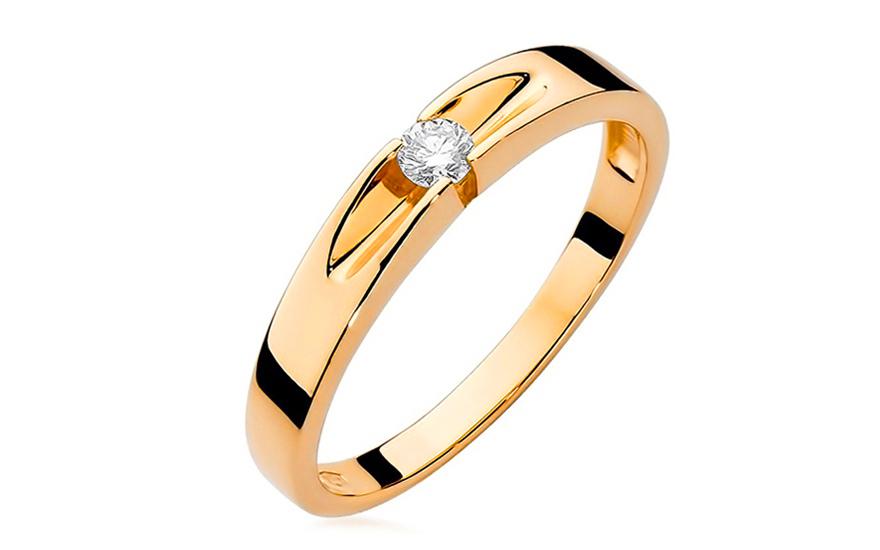 Zlatý zásnubní prsten s diamantem Ofelia BSBR026