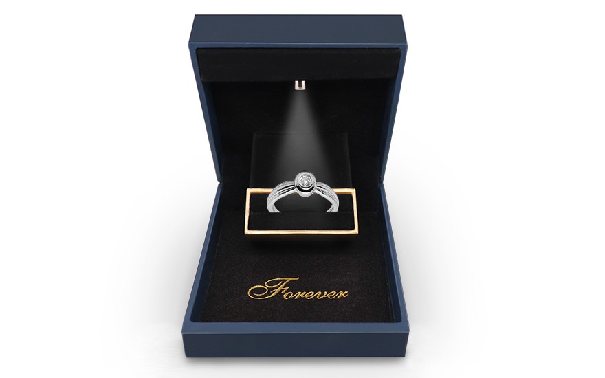 Zlatý zásnubní prsten s diamantem Paige KU488A