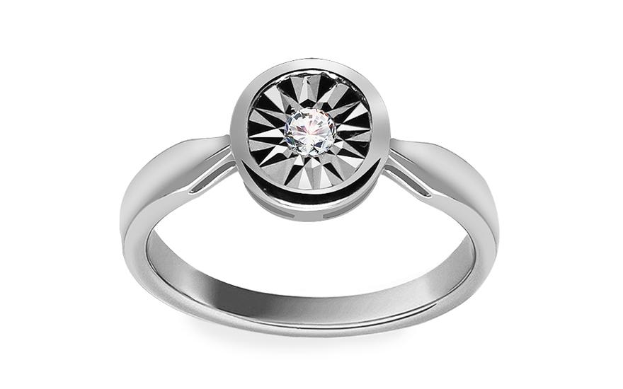 Zlatý zásnubní prsten s diamantem Parker white KU527A