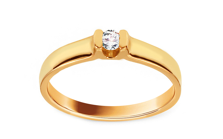 Zlatý zásnubní prsten s diamantem Piper BSBR045
