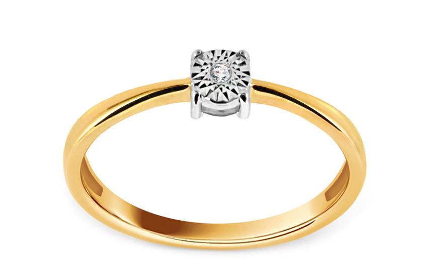 Zlatý zásnubní prsten s diamantem Rafaela KU416