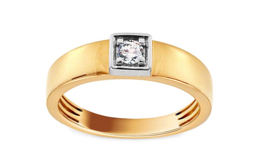Zlatý zásnubní prsten s diamantem Rohais KU554