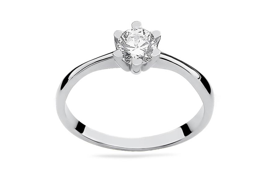 Zlatý zásnubní prsten s diamantem Talia white BSBR053