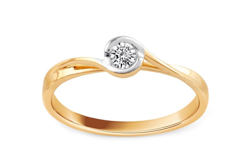 Zlatý zásnubní prsten s diamantem Trinity KU515