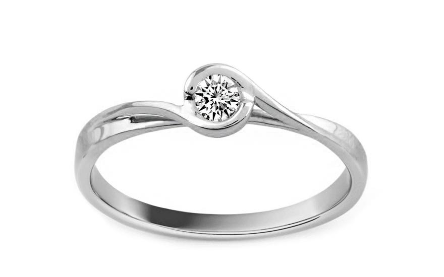 Zlatý zásnubní prsten s diamantem Trinity white KU515A