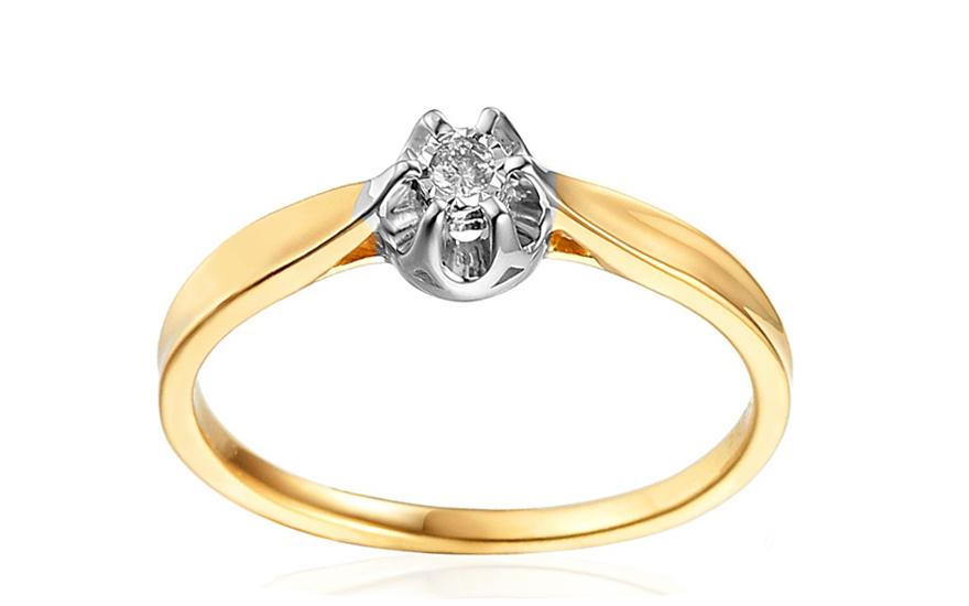 Zlatý zásnubní prsten s diamantem Vivian IZBR143