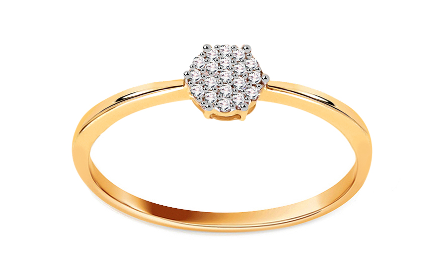 Zlatý zásnubní prsten s diamanty 0,050 ct Aistin VKBR023