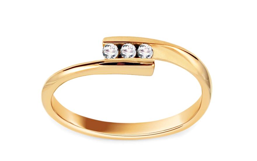 Zlatý zásnubní prsten s diamanty 0,060 ct Valencia DB0070