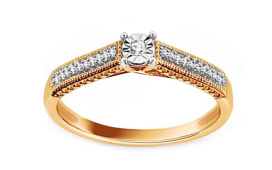 Zlatý zásnubní prsten s diamanty 0,080 ct Armandy KU909