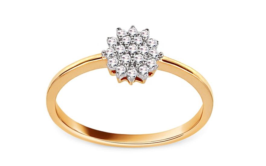 Zlatý zásnubní prsten s diamanty 0,100 ct Cyntia VKBR013