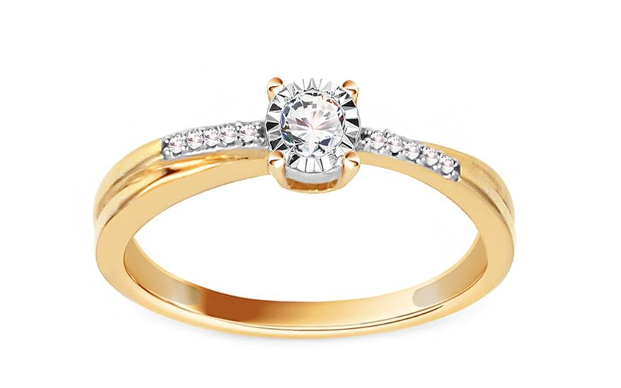 Zlatý zásnubní prsten s diamanty 0,100 ct Rowena KU594