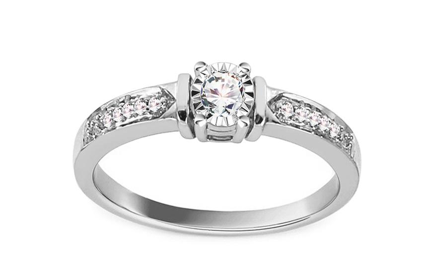 Zlatý zásnubní prsten s diamanty 0,120 Belkis KU603A
