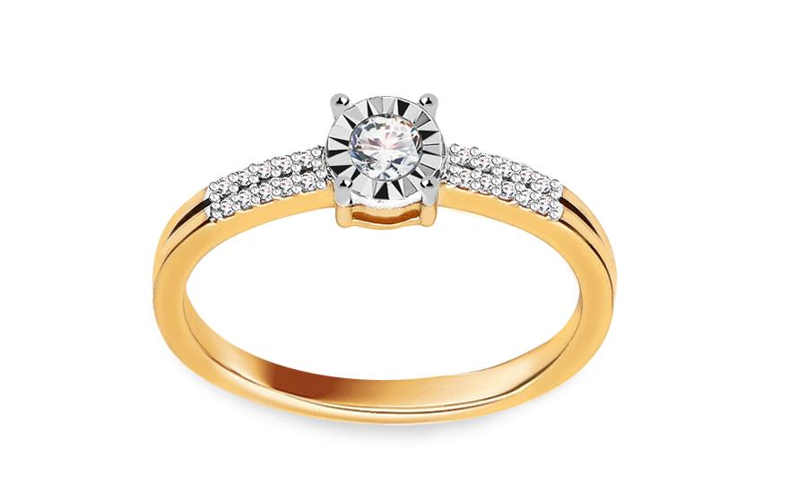 Zlatý zásnubní prsten s diamanty 0,140 ct Cammie VKBR006