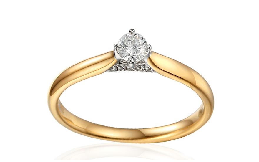 Zlatý zásnubní prsten s diamanty 0,170 ct Tomika IZBR383