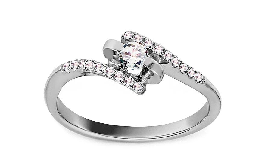 Zlatý zásnubní prsten s diamanty 0,200 ct Edris KU607A