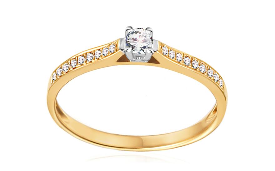 Zlatý zásnubní prsten s diamanty 0,240 ct Adel IZBR404