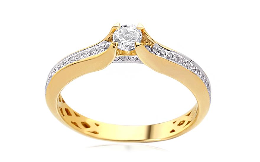 Zlatý zásnubní prsten s diamanty 0,240 ct Jeane IZBR385