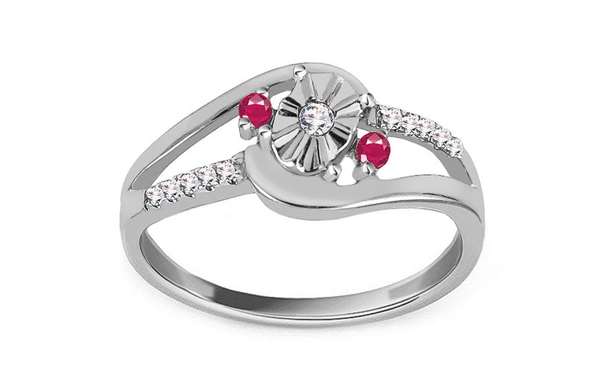 Zlatý zásnubní prsten s diamanty a rubíny Sanai KU490A