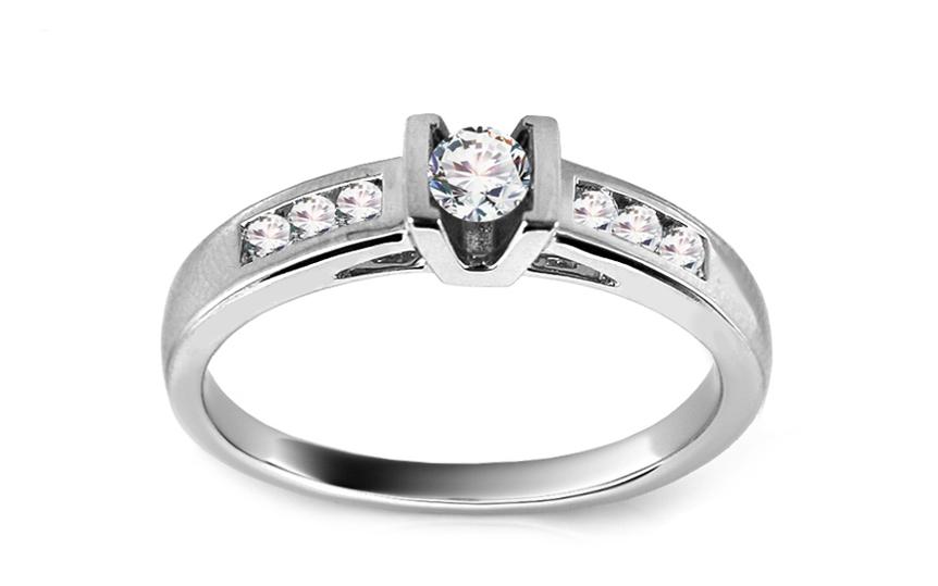 Zlatý zásnubní prsten s diamanty Akira KU409A