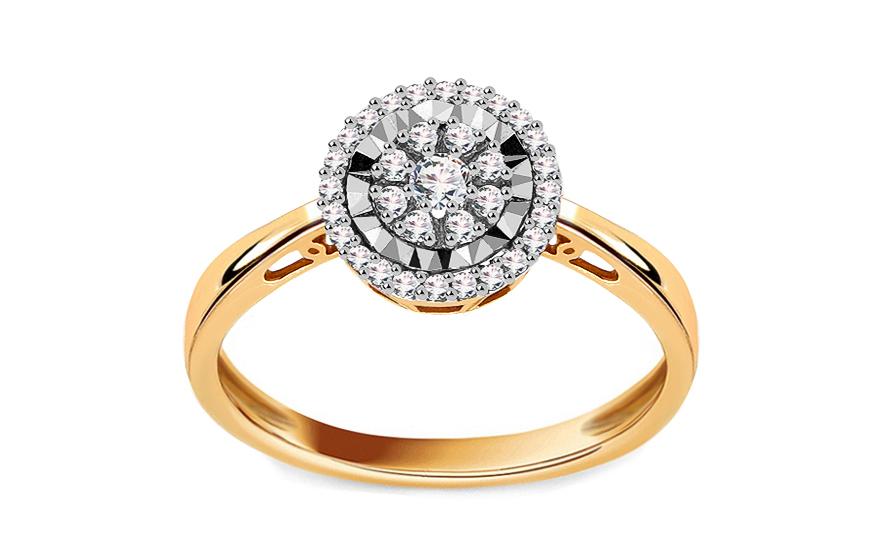 Zlatý zásnubní prsten s diamanty Aviva KU358