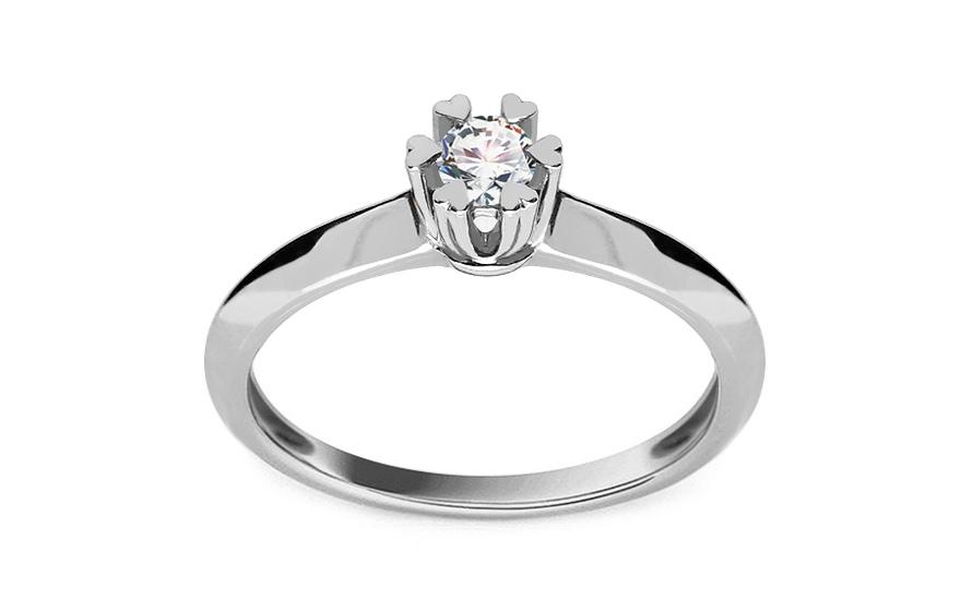Zlatý zásnubní prsten s diamanty Belita white KU499A
