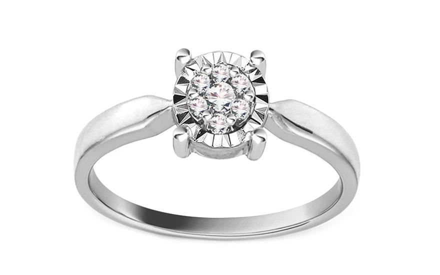 Zlatý zásnubní prsten s diamanty Chaela KU438