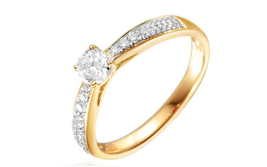 Zlatý zásnubní prsten s diamanty Dalia IZBR031