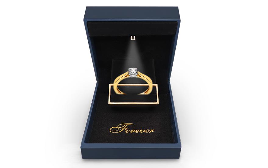 Zlatý zásnubní prsten s diamanty Dona KU502