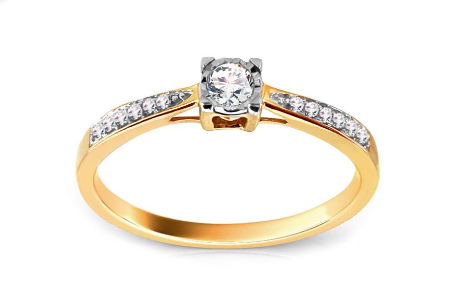Zlatý zásnubní prsten s diamanty Elanora KU437