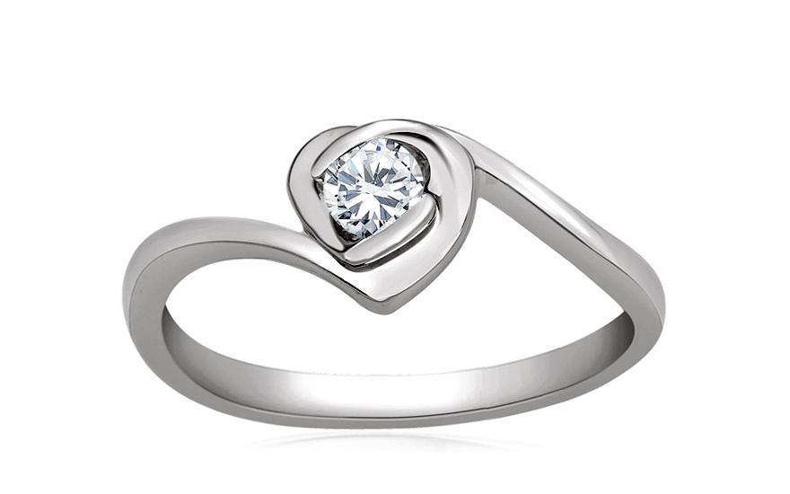 Zlatý zásnubní prsten s diamanty Emily white KU505A