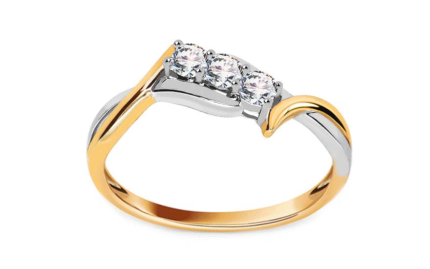 Zlatý zásnubní prsten s diamanty Farah KU361