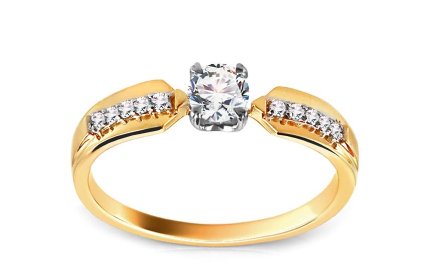 Zlatý zásnubní prsten s diamanty Hannah KU413