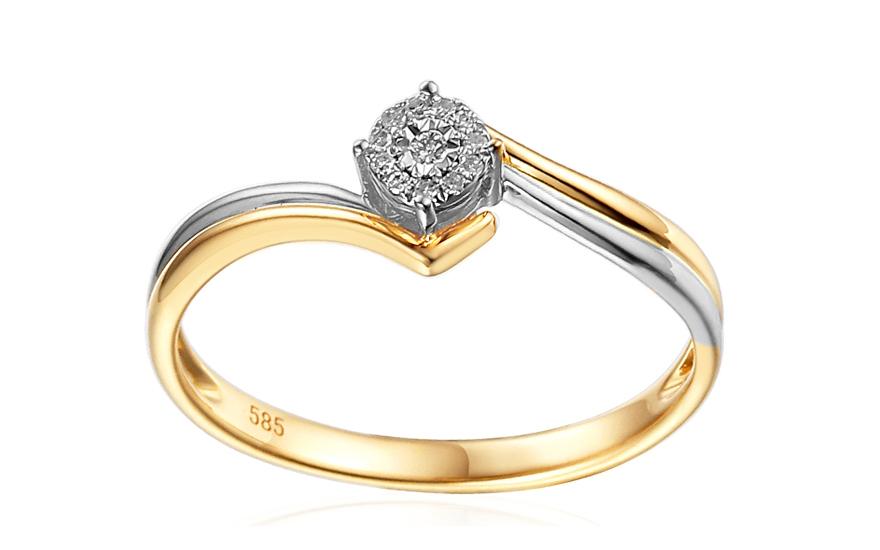 Zlatý zásnubní prsten s diamanty Hollis IZBR155