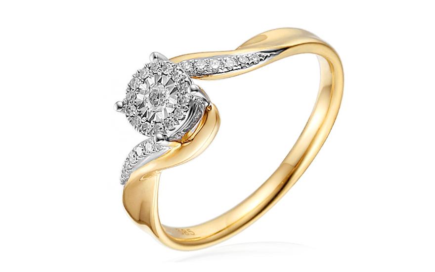 Zlatý zásnubní prsten s diamanty Lamya IZBR253