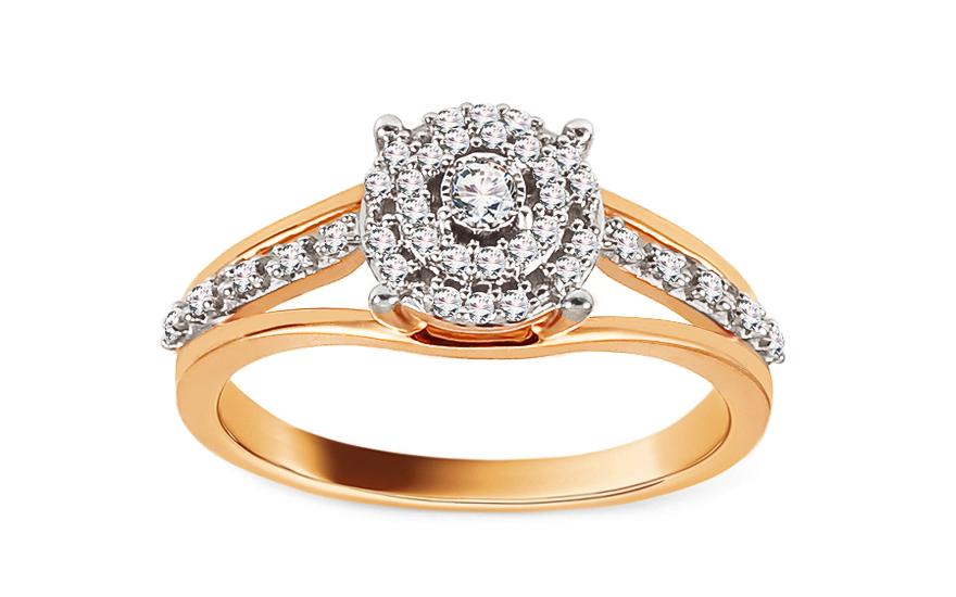 Zlatý zásnubní prsten s diamanty Lidia KU512