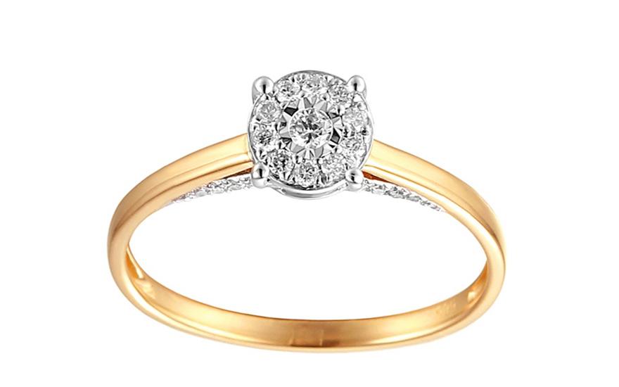 Zlatý zásnubní prsten s diamanty Liora IZBR264