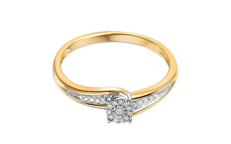Zlatý zásnubní prsten s diamanty Lotte IZBR246