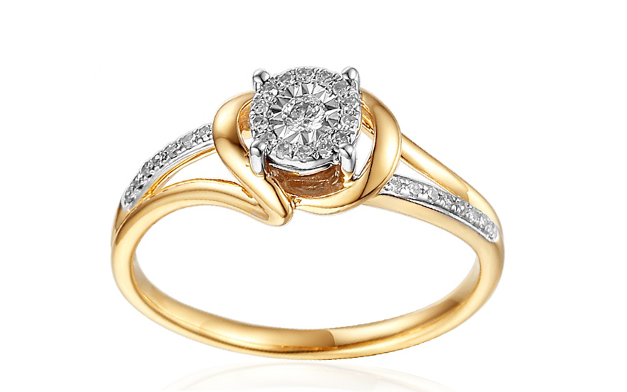 Zlatý zásnubní prsten s diamanty Mabel IZBR262