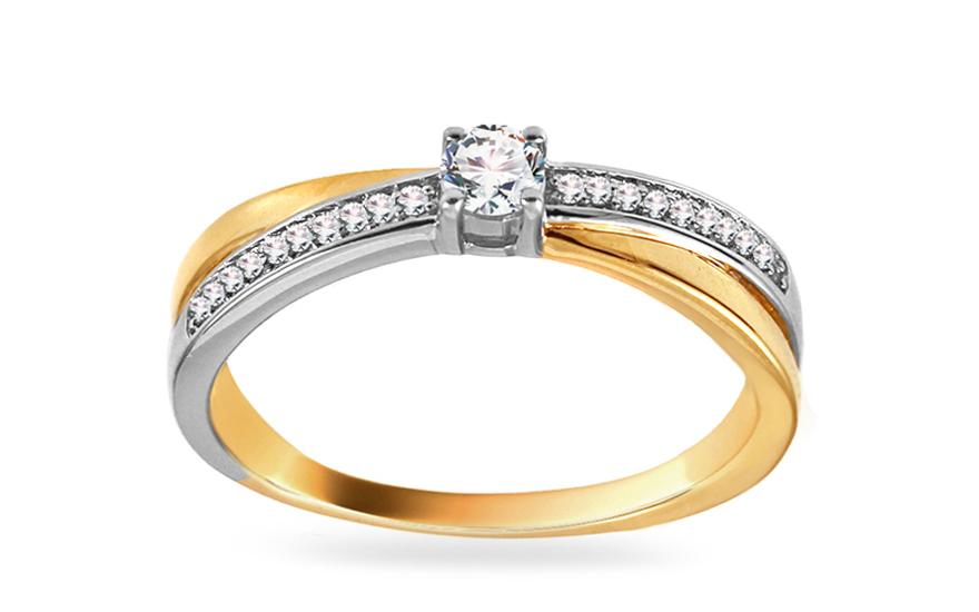 Zlatý zásnubní prsten s diamanty Nadia KU446