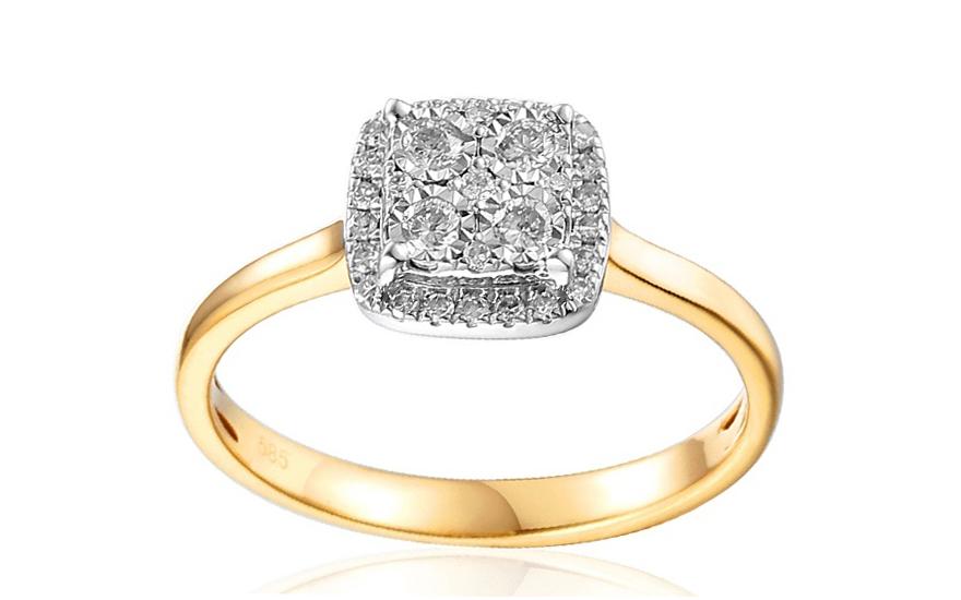 Zlatý zásnubní prsten s diamanty Nava IZBR024